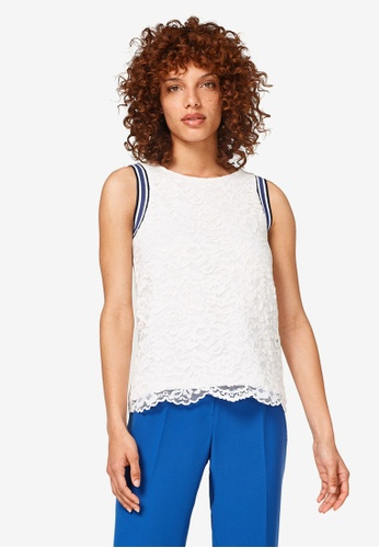 ESPRIT white Sleeveless Lace Top 4D99CAAD0DB9CFGS_1