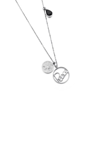 Glamorousky black Fashion and Simple Peace Double Round 316L Stainless Steel Pendant with Cubic Zirconia and Necklace CE018AC2813758GS_1