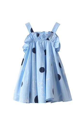 M.Latin blue Polka Dot Suspender A-Line Dress 6870AKAEF43B70GS_1