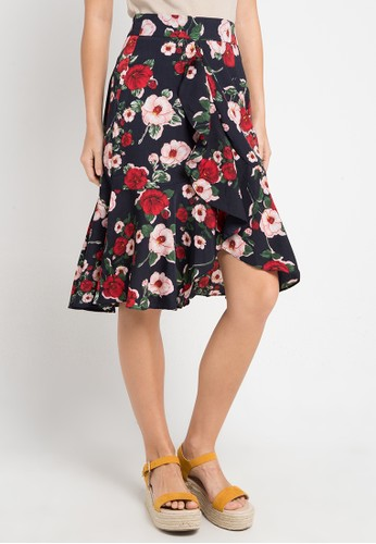 Uptown Girl multi and navy Floral Ruffle Skirt 19D7AAAD93312FGS_1