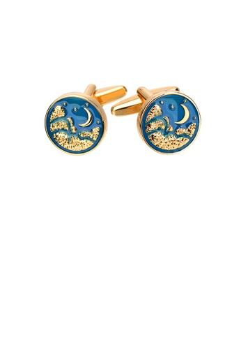 Glamorousky silver Fashion and Elegant Plated Gold Moon Enamel Blue Geometric Round Cufflinks 07971ACA97B284GS_1