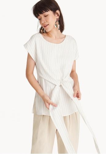Pomelo white Premium Tencel Pinstripe Front Tie Blouse BB96EAA0599B65GS_1
