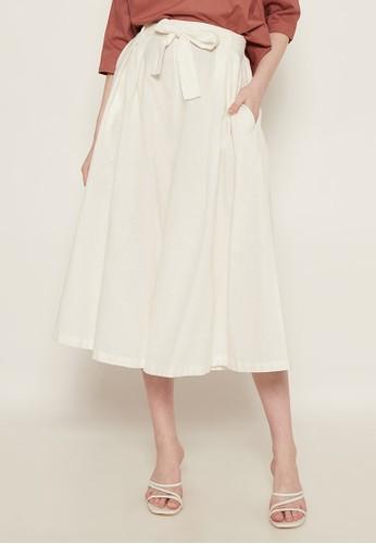 NOA EVERYDAY white Celana Kulot Mayumi with Belt - White 61CF8AA91634BDGS_1