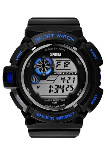 Skmei blue SKMEI 0939 Men's Military Digital Date Calendar LED Sports Watch (Blue) SK707AC0RXCMMY_1