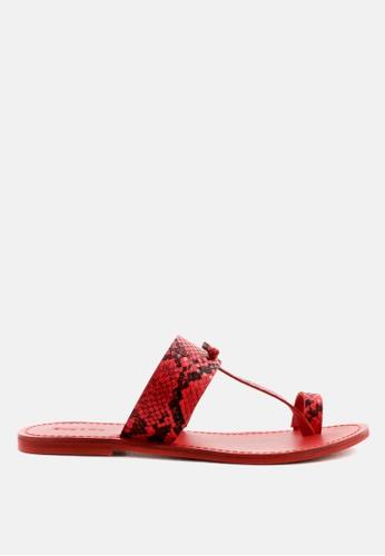 RAG & CO red Snake Print Thong Flat Sandals 6D6E0SHDD79AB6GS_1