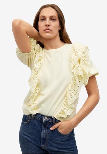 Mango yellow Openwork Cotton T-Shirt 4A169AA82A8400GS_1