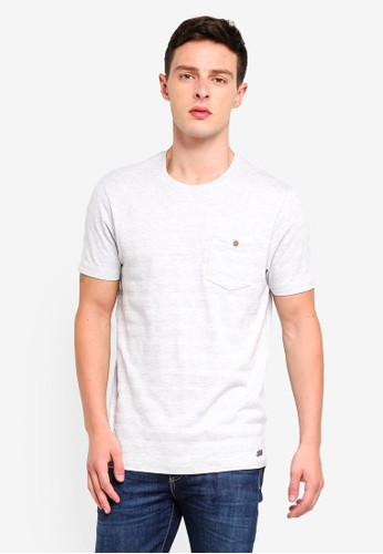 Brave Soul white and beige Chest Pocket Crew Neck T-Shirt 8F1C5AA928A7EEGS_1