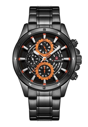 Naviforce black Naviforce Orange and Black Stainless Steel Watch FCEFEAC361EAC0GS_1