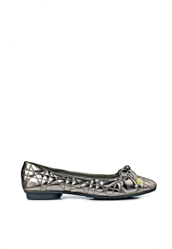 SHINE grey Metallic Square Toe Ballet Flats CE9F9SH9804CD2GS_1