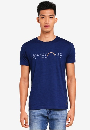 ESPRIT 海軍藍色 短袖印花T恤 0B87CAA41F941EGS_1