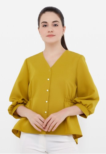L'more green Rubber Curse Stitching Blouse A3DEEAAA9B5FC4GS_1