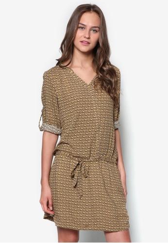 esprit retail花磚印花長袖連身裙, 服飾, 服飾