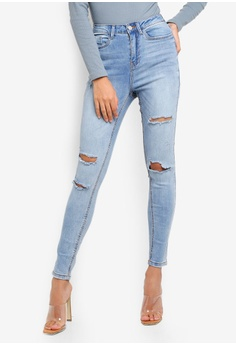 46f1063d03c MISSGUIDED blue Sinner High Waist Authentic Ripped Jeans 79031AAAE8C207GS_1