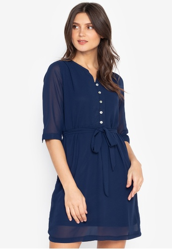 MARGAUX MOCK DRESS Robe pull blue