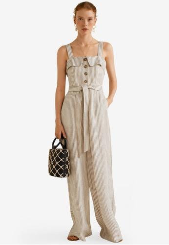 Linen Blend Striped Jumpsuit