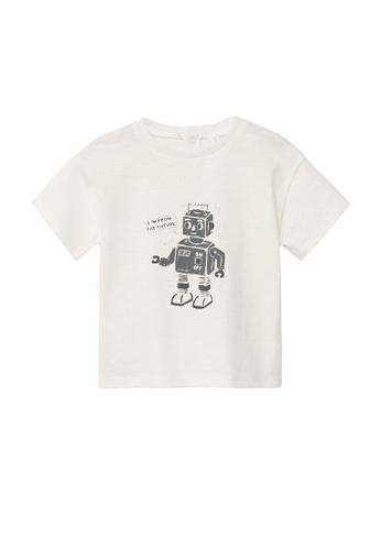 MANGO BABY white Organic Cotton T-Shirt 5A73BKA00B6340GS_1