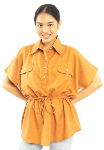 Heart and Feel orange Waist Ruffle Top C3D96AABC029E9GS_1