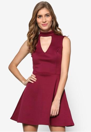 Edf 繞踝V領zalora taiwan 時尚購物網無袖連身裙, 服飾, 服飾