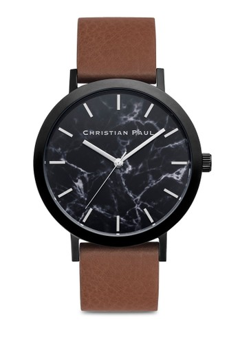 Bridport 大理石圓框手錶, 錶類, 皮革錶esprit台北門市帶
