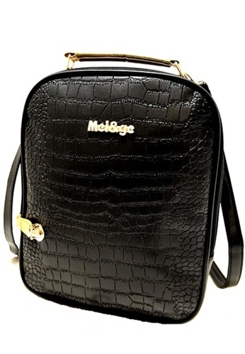 Jackbox black Korean Fashion Artificial Crocodile Leather Casual Backpack 516 (Black) JA762AC97YNAMY_1
