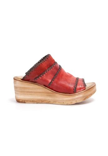 Shu Talk red A.S.98 Vintage Washed Leather Comfy Platform Wedge Sandals 059C6SH28951B9GS_1