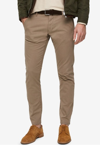 Selected Homme brown Straight Paris Greige Chinos Pants BB37CAA6F5592DGS_1