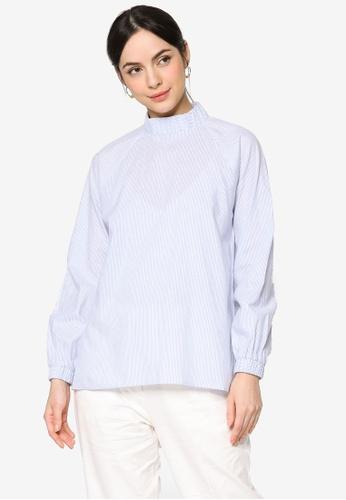 ZALIA BASICS blue Cotton Mock Neck Blouse C5C4AAA8886D61GS_1