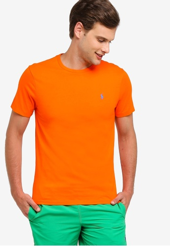 e7ba9c9f03a Polo Ralph Lauren orange Short Sleeve Crew Neck Slim T-Shirt  CF339AA2160DFFGS 1