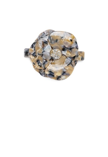 Glamorousky white Fashion and Elegant Gold Pattern Flower Hair Slide with Cubic Zirconia DF311AC94F897EGS_1