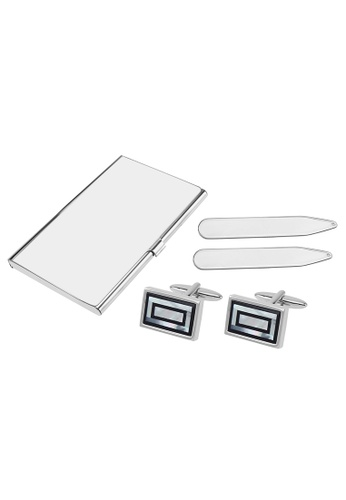 CUFF IT black and white Onyx and Mother of Pearl Double Rectangle Cufflinks Collar Stays and Card Holder Set 0CDF1AC3A0C390GS_1