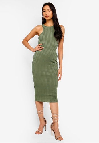 9c243a829db4 Buy MISSGUIDED Ribbed Racer Neck Bodycon Midi Dress Online on ZALORA ...