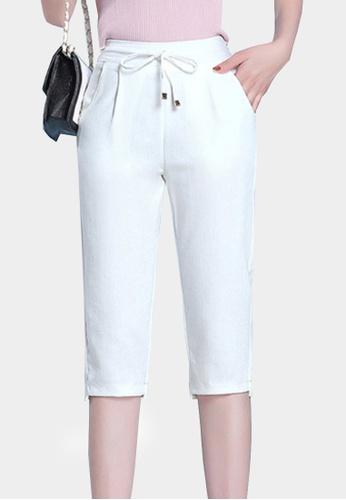 Twenty Eight Shoes white VANSA Ice Silk Cotton Linen Cropped Pant VCW-PYMS7 E9ED5AAEF0AE5EGS_1