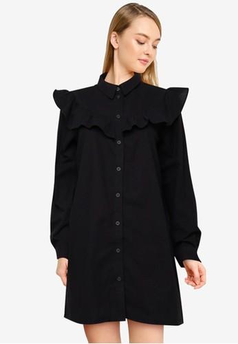 Cotton On black Woven Jade Long Sleeve Ruffle Shirt Mini Dress C3933AAFD6EFF9GS_1