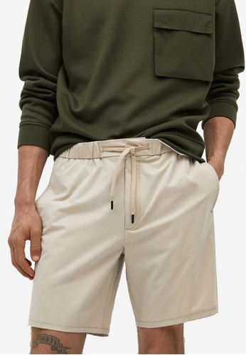 MANGO Man 米褐色 Technical Jogger Shorts A774EAA87B54E3GS_1