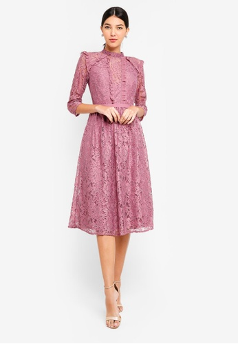 Little Mistress pink Rose Lace Midi Dress 186F0AADE050CBGS_1