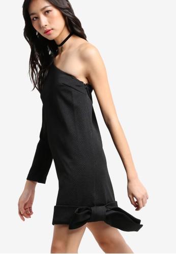 大蝴蝶結飾單肩zalora 衣服尺寸連身裙, 服飾, 洋裝