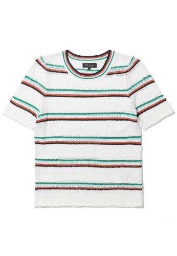 tout à coup white Stripe knit tee 41572AA51857C6GS_1