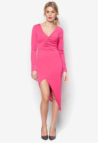 抓褶裹飾esprit outlet洋裝, 服飾, 洋裝