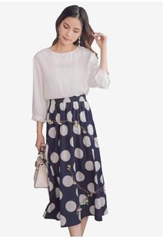 9e9317dfa7cf0 Yoco blue Polka Dot Printed Skirt Panel Dress 59DDAAA2A9496FGS_1
