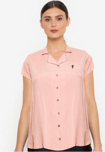 Bossini Ladies pink Woven Plain Rayon Short Sleeve Polo D93EEAA1979198GS_1
