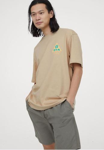 H&M multi and beige Round-Neck T-Shirt Regular Fit 9E82FAA9267CC3GS_1