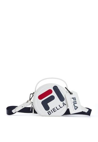 FILA white FILA BIELLA Logo Round Crossbody Bag 3F768AC0BE1669GS_1