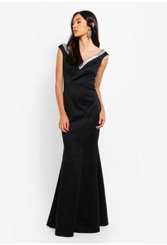 7bb2f4dea696 65% OFF Goddiva Diamante Neckline Maxi Dress RM 419.00 NOW RM 146.90 Sizes  8 10 12 14 16