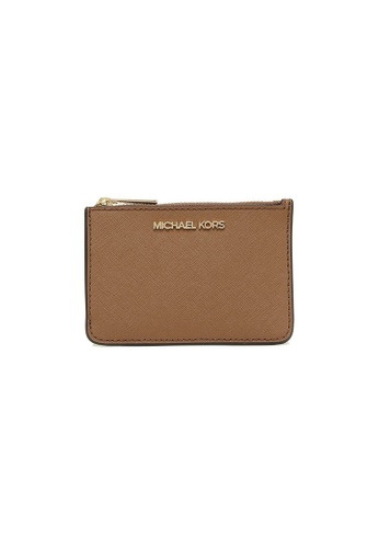 Michael Kors beige Michael Kors Jet Set Travel Small Top Zip Coin Pouch With ID Window Luggage 04961AC93D9816GS_1