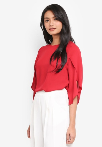 Dorothy Perkins red Red Frill Sleeve Tie Back Top FD043AA1BA3153GS_1