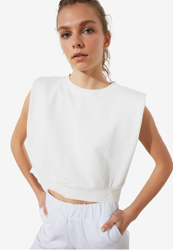 Trendyol white Boxy Sleeveless Sports T-Shirt E1223AA23C8099GS_1