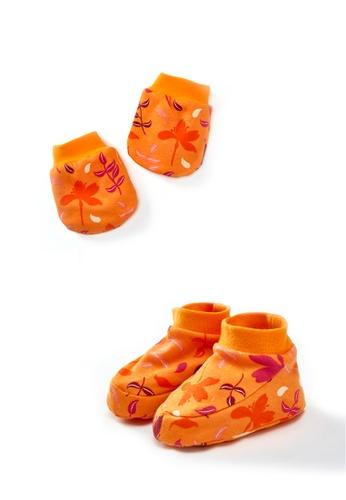 Vauva orange Vauva My-My Babies Leaves Gloves and Socks Set - Orange 0C5C9KCABCC22FGS_1