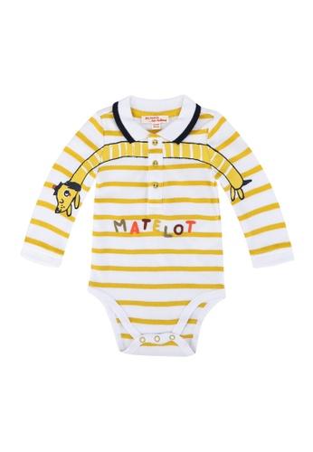 DU PAREIL AU MÊME (DPAM) white Striped Cotton Bodysuit 01503KA80647F3GS_1