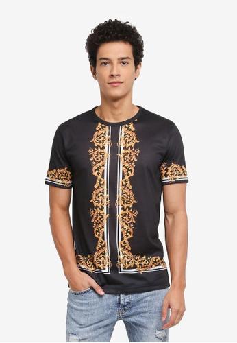 Topman black Baroque T-Shirt 4D59DAAB3E36E5GS_1