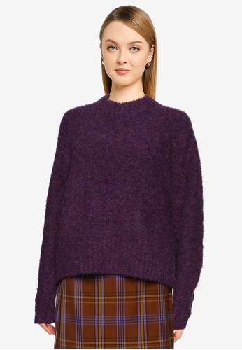French Connection purple Kate Knits Crew Neck Jumper 5DE30AAC3D639EGS_1